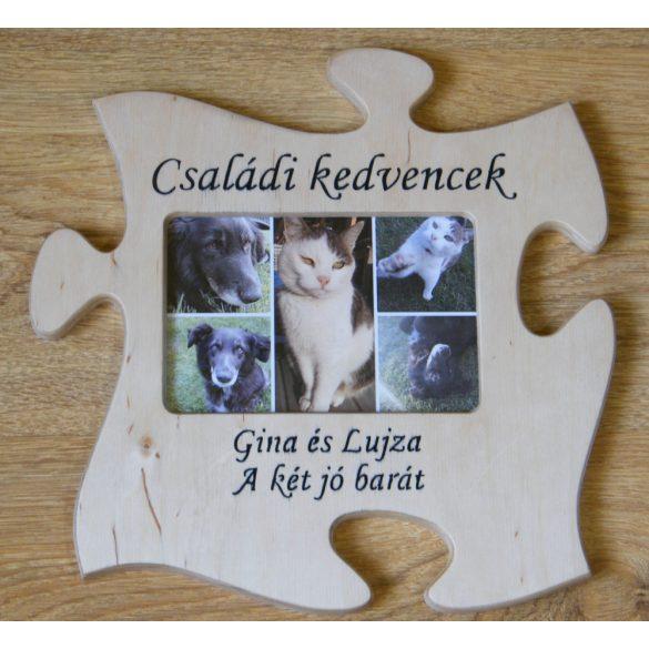Puzzle képkeret egyedi gravírozott felirattal