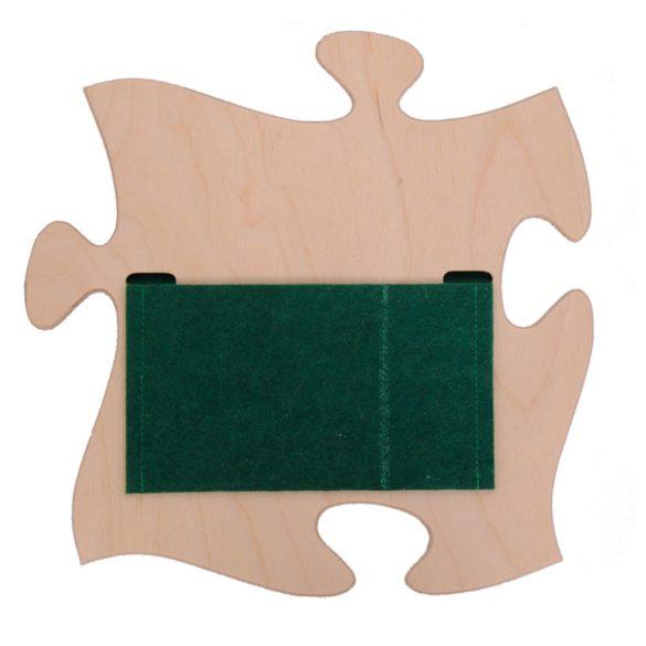 Fali tároló zöld filc zsebbel