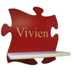 Puzzle gyerek polc egyedi gravírozott felirattal(piros-fehér)