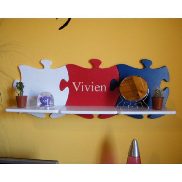 Puzzle gyerek polc egyedi gravírozott felirattal(különböző színekben)
