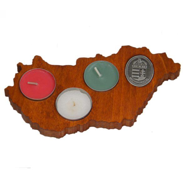 Faragott Magyarország gyertyatartó (mahagóni színben)