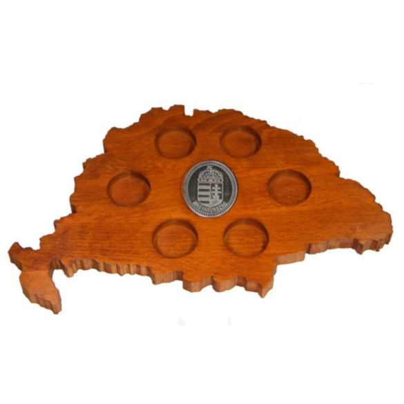 Ital vagy pálinka kínáló, faragott Nagy-Magyarország (mahagóni színben), ón címerrel
