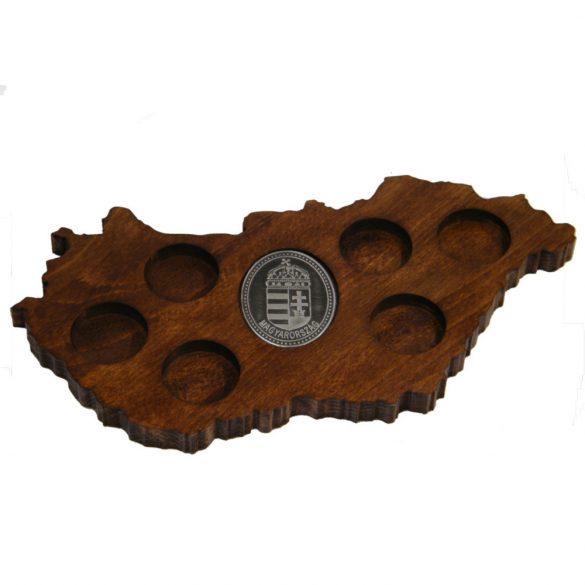 Ital vagy pálinka kínáló, faragott Magyarország, címer óncímkével (dió színben)