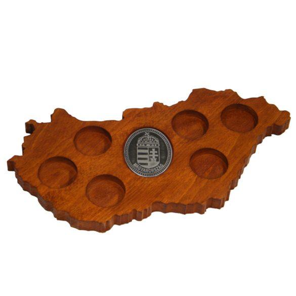 Ital vagy pálinka kínáló, faragott Magyarország, címer óncímkével (mahagóni színben)