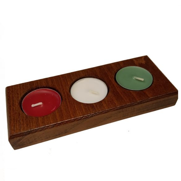 Gyertyatartó, 3 színű mécsessel, dió színben