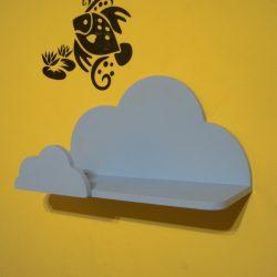 Gyerek felhő polc (kék), 45 cm, előlappal