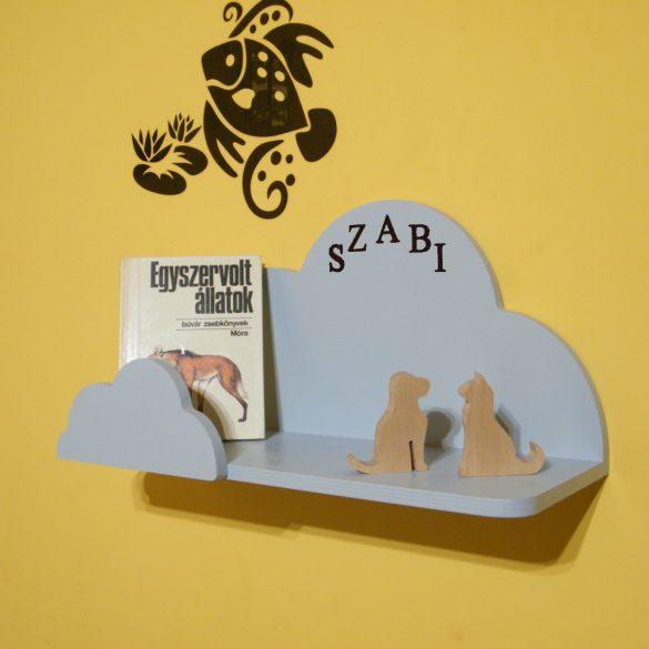 Gyerek felhő polc, 45 cm, előlappal, egyedi felirattal, többféle színben