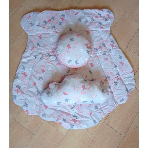 Indiánsátor, Teepee,  szőnyeggel, párnákkal (rózsaszínű, pillangós)