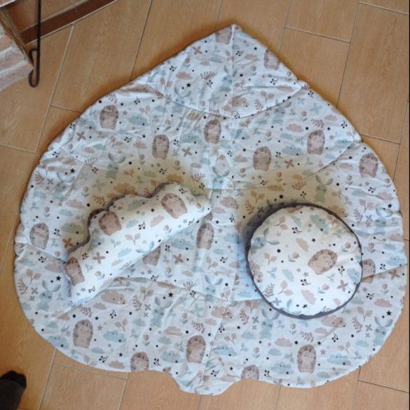 Indiánsátor, Teepee, szőnyeggel, párnákkal (szürke, erdei állatos)